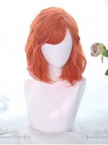 Orange Medium-long Curly Hair Air Bangs Lolita Wigs