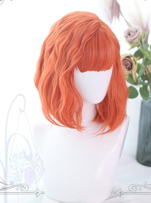 Orange Medium-long Curly Hair Air Bangs Lolita Wigs