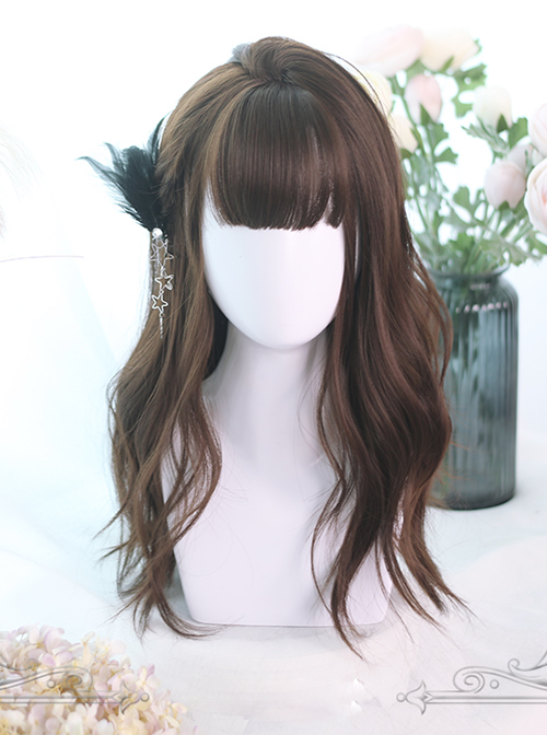 Chocolate Color Large Wave Curly Long Hair Lolita Wigs