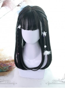 Three Colors Natural Hair-tail Medium Long Straight Hair Classic Lolita Wigs