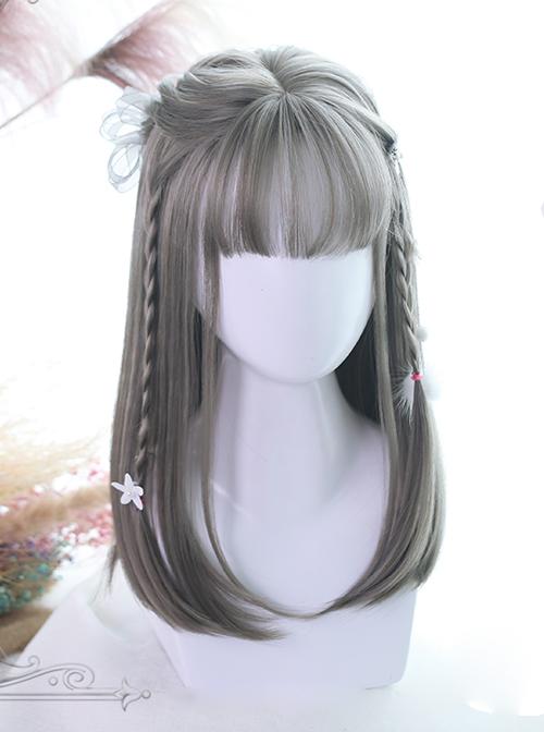 Three Colors Natural Hair-tail Medium Long Straight Hair Classic Lolita Wigs