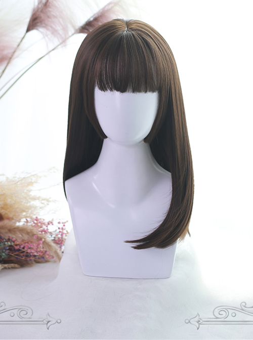 Three Colors Hime Cut Medium Long Straight Hair Lolita Wigs