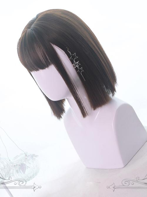 Air-bangs Medium Long Straight Hair Lolita Wigs