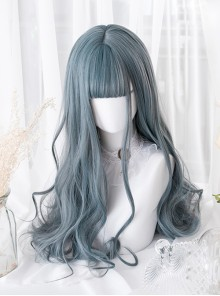 Gray-blue Elegant Long Curly Hair Lolita Wigs