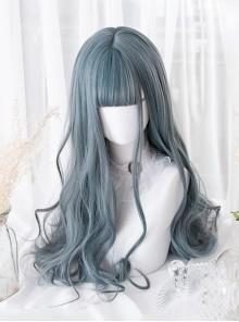 Gray-blue Elegant Long Curly Hair Lolita Wigs