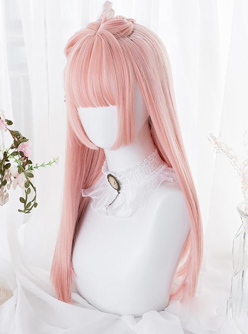 Hime Cut Pink Long Straight Hair Lolita Wigs