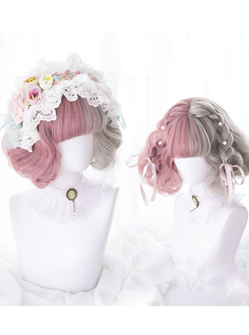 Pink And Gray Left And Right Gradient Short Curly Hair Lolita Wigs