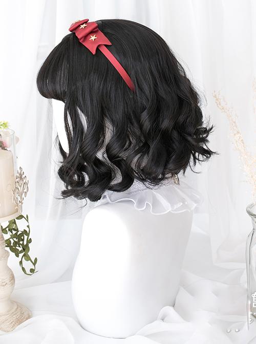 Black Wave Foam Curly Lolita Short Wigs