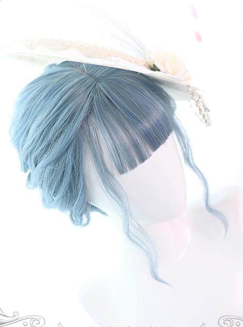 Mermaid Blue Air-bangs Curly Hair Lolita Wigs