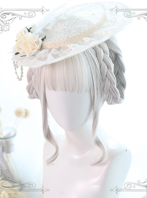 Dual Horsetail Moonlight-stone White Mixing Color Classic Lolita Wigs