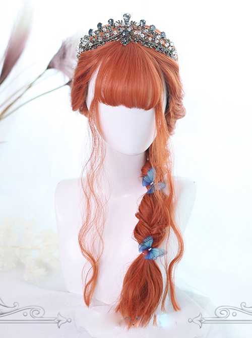 Orange Air-bangs Long Curly Hair Classic Lolita Wigs