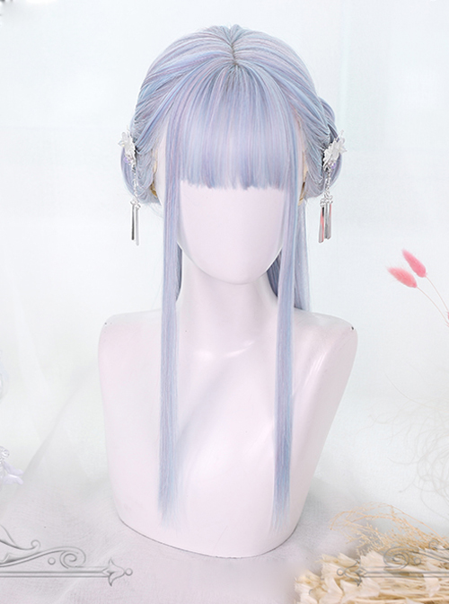Light Blue Mixing Color Long Straight Hair Classic Lolita Wigs