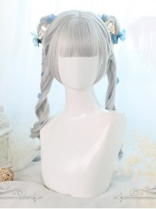 Gray Dual Horsetail Elegance Curly Hair Classic Lolita Wigs