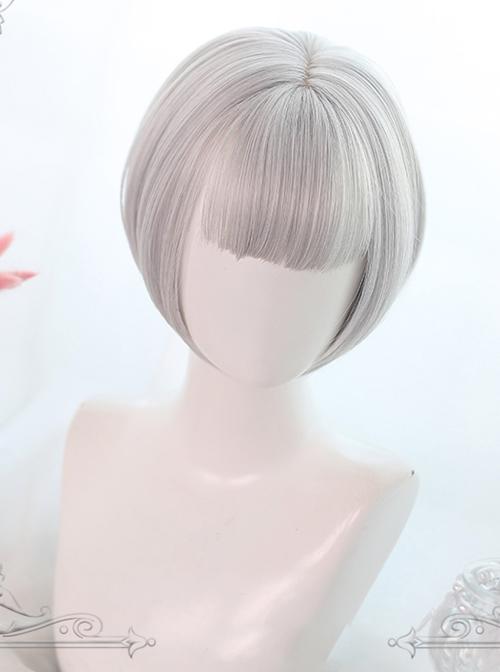 Gray Dual Horsetail Elegance Curly Hair Classic Lolita Wigs