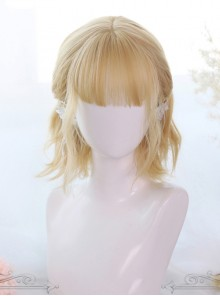 Lemon Tea Series Golden Short Slightly Curly Hair Lolita Wigs