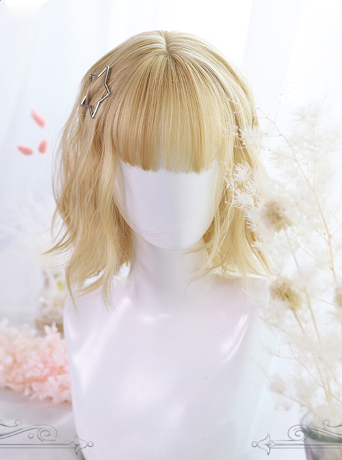 Lemon Tea Series Golden Short Slightly Curly Hair Lolita Wigs