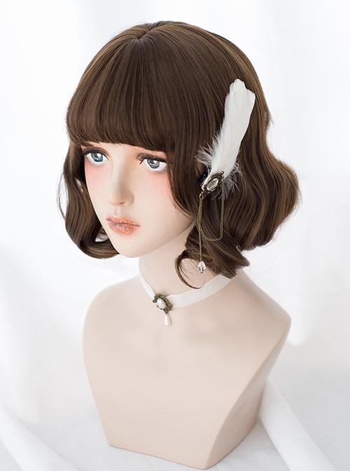 Brown Cute Short Curly Hair Classic Lolita Wigs
