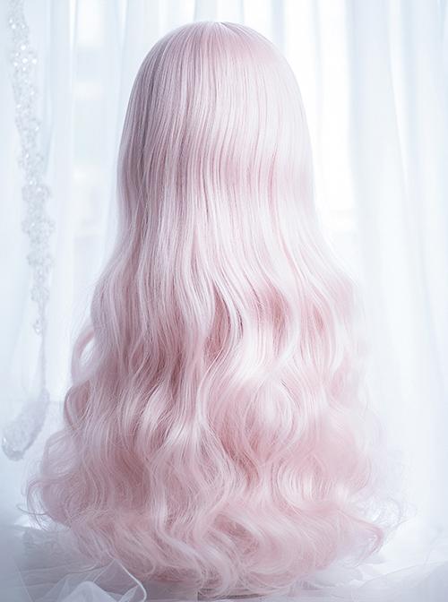 Cute Air-bangs Pink Long Curly Hair Lolita Wigs