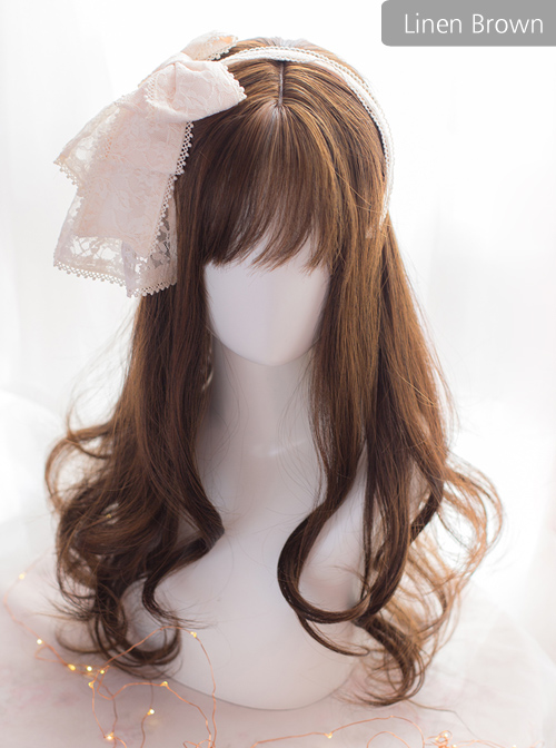 Brown Or Black Medium Length Curly Hair Lolita Wigs