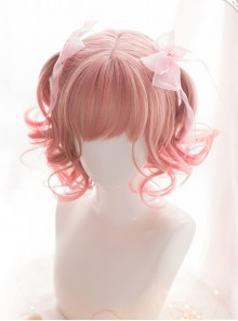 Pink Gradient Short Curly Hair Air bangs Sweet Lolita Wigs
