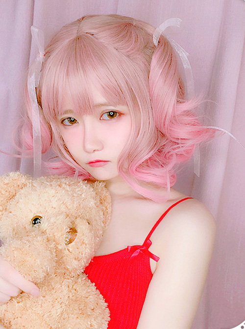 Pink Gradient Short Curly Hair Air bangs Sweet Lolita Wigs