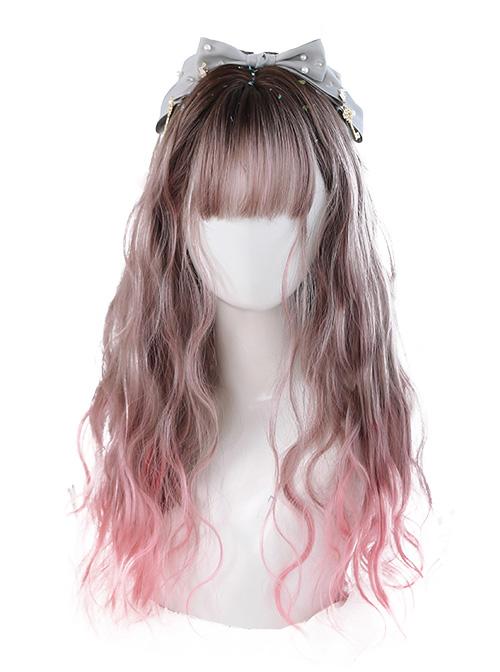 Air bangs Long Curly Hair Sweet Lolita Pink Gradient Wigs