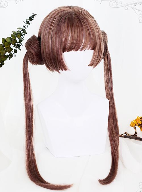 Brown Dual Horsetail Hime Cut Cute Lolita Wig