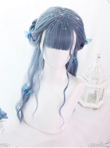 Mermaid's Tears Series Long Curly Hair Lolita Blue-purple Gradient Wigs