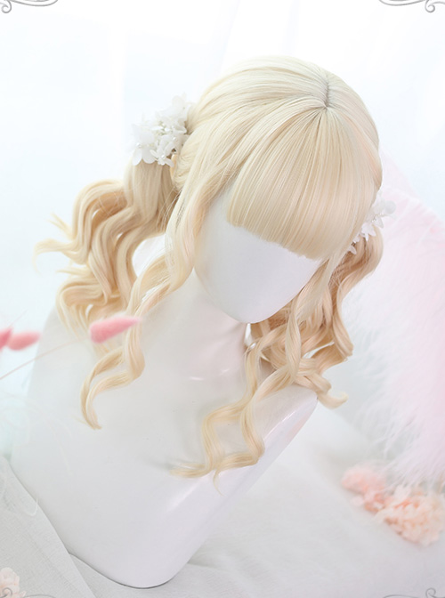 Air bangs Golden Medium Long Curly Hair Classic Lolita Wigs