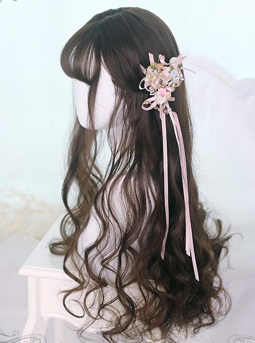 Air bangs Black-brown Long Curly Hair Classic Lolita Wigs