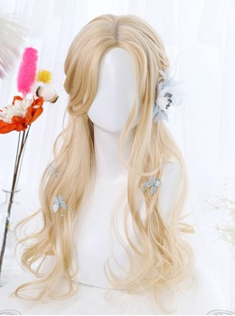 Light Golden Daily Long Curly Hair Lolita Wigs