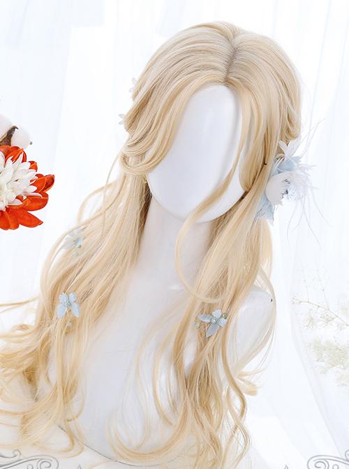 Light Golden Daily Long Curly Hair Lolita Wigs