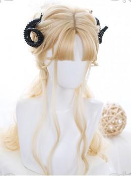 Personality bangs Golden Long Curly Hair Lolita Wigs