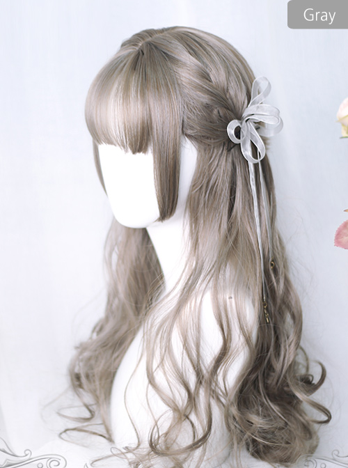 Air bangs Hime Cut Long Curly Hair Lolita Wigs