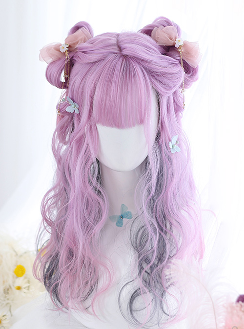 Purple Layered Gradient Middle Long Curly Hair Lolita Wig