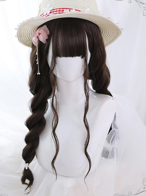 Air bangs Dark Tea Water Ripple Long Curly Hair Classic Lolita Wigs