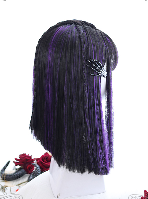 Air bangs Medium-length Hair Purple Highlights Gothic Lolita Black Wigs