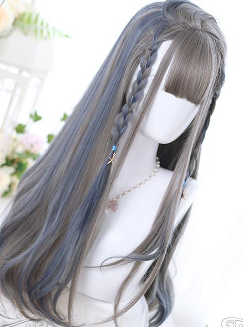 Linen Gray Highlight Gray-blue Hair-tail Micro Curly Long Hair Classic Lolita Wigs