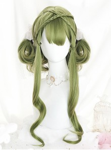 Green Air-bangs Long Curly Hair Classic Lolita Wigs