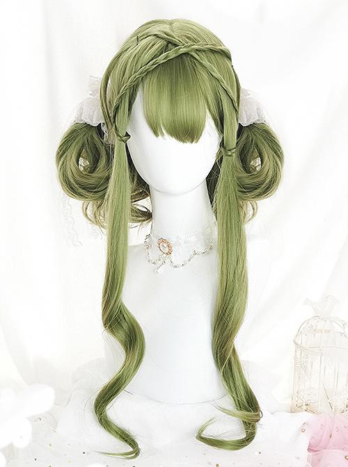 Green Air-bangs Long Curly Hair Classic Lolita Wigs