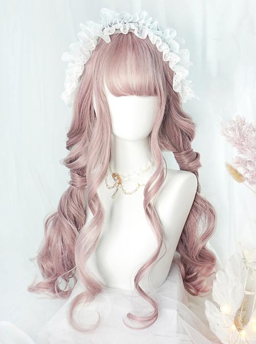 Big Wavy Long Curly Hair Cute Pink Lolita Wigs