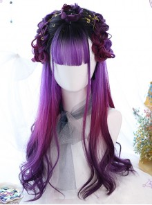 Air bangs Purple Gradient Long Curly Hair Gothic Lolita Wigs