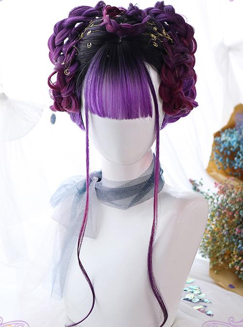 Air bangs Purple Gradient Long Curly Hair Gothic Lolita Wigs