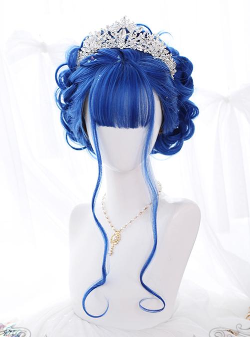 Blue Big Wavy Long Curly Hair Classic Lolita Wig