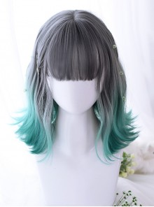 Summer Series Gray Gradient Green Irregular Micro Roll Lolita Wigs