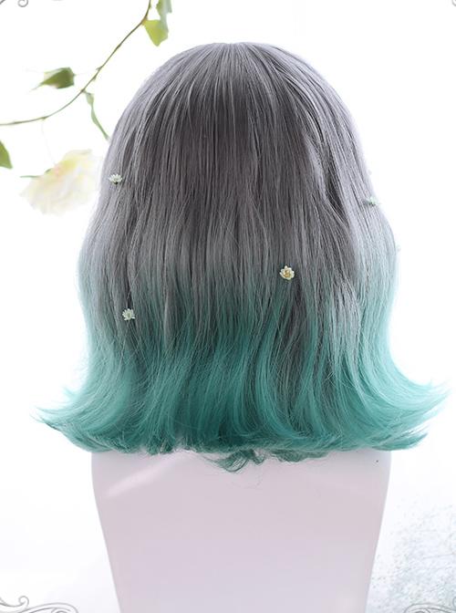 Summer Series Gray Gradient Green Irregular Micro Roll Lolita Wigs
