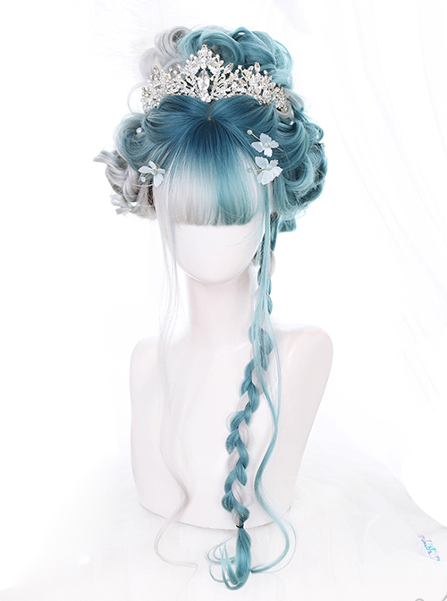Mint Color And Gray Natural Gradient Long Curly Hair Classic Lolita Wigs