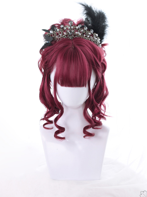 Mysterious Dark Red Short Curly Hair Gothic Lolita Wigs