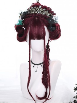 Tears Of Witch Series Dark Red Long Curly Hair Gothic Lolita Wigs