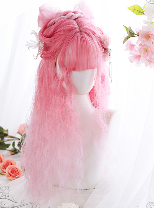 Cherry Blossom Wine Series Pink Gradient Long Curly Hair Sweet Lolita Wigs
